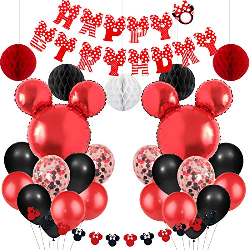 Mickey And Minnie Themed Party Supplies Red And Black Minnie Garland Balloons Happy Birthday Banner For Boys Girls Birthday Baby Shower Walmart Com Walmart Com