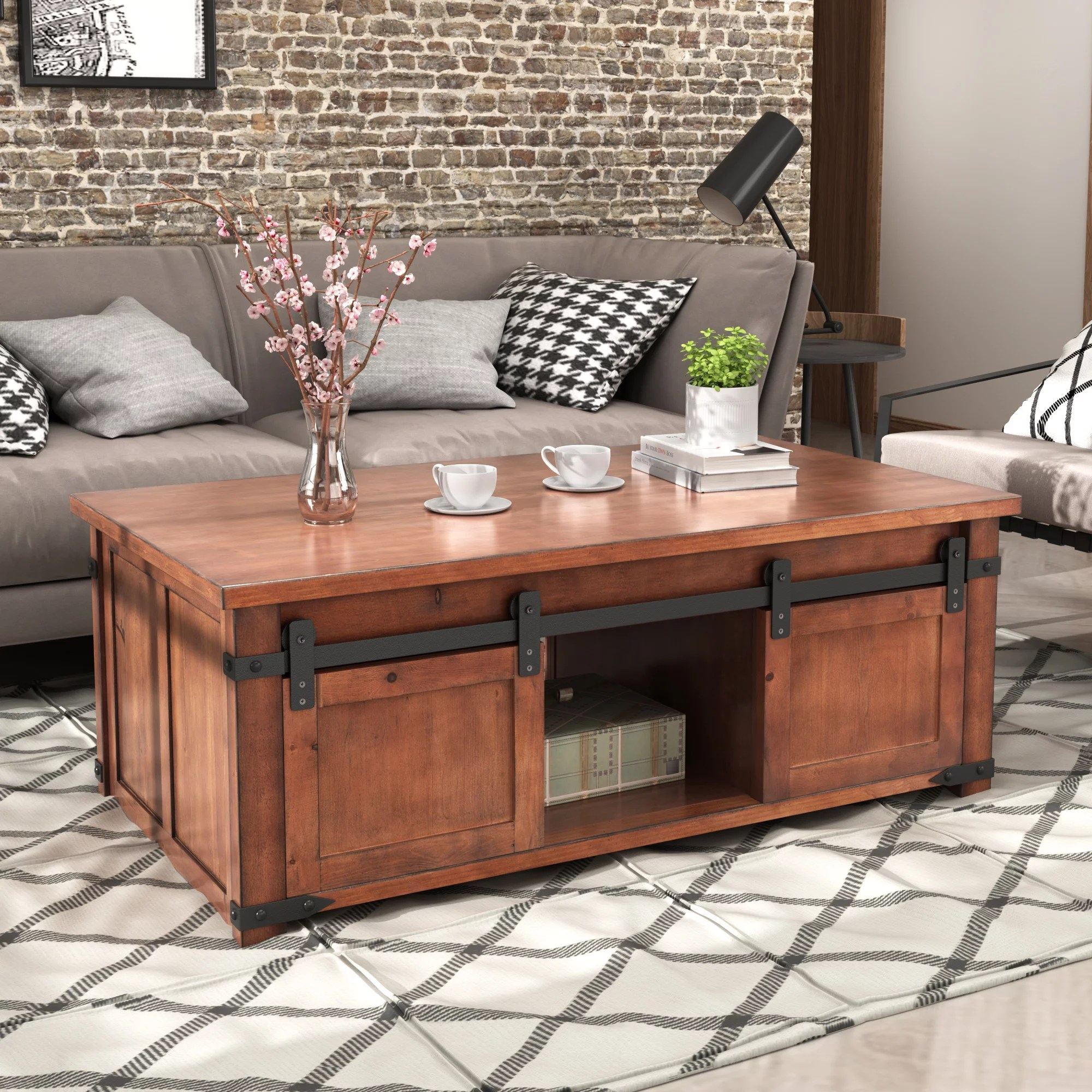 rectangular coffee table tv stand farmhouse coffee table with storage shelf and sliding doors cabinets rustic wooden coffee table end table living