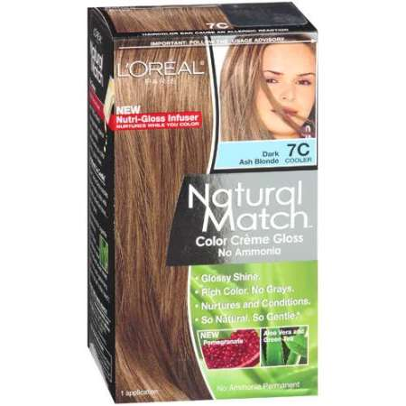 l oreal paris natural match color crᅢᄄme gloss dark ash blonde 7c cooler haircolor 1 kt
