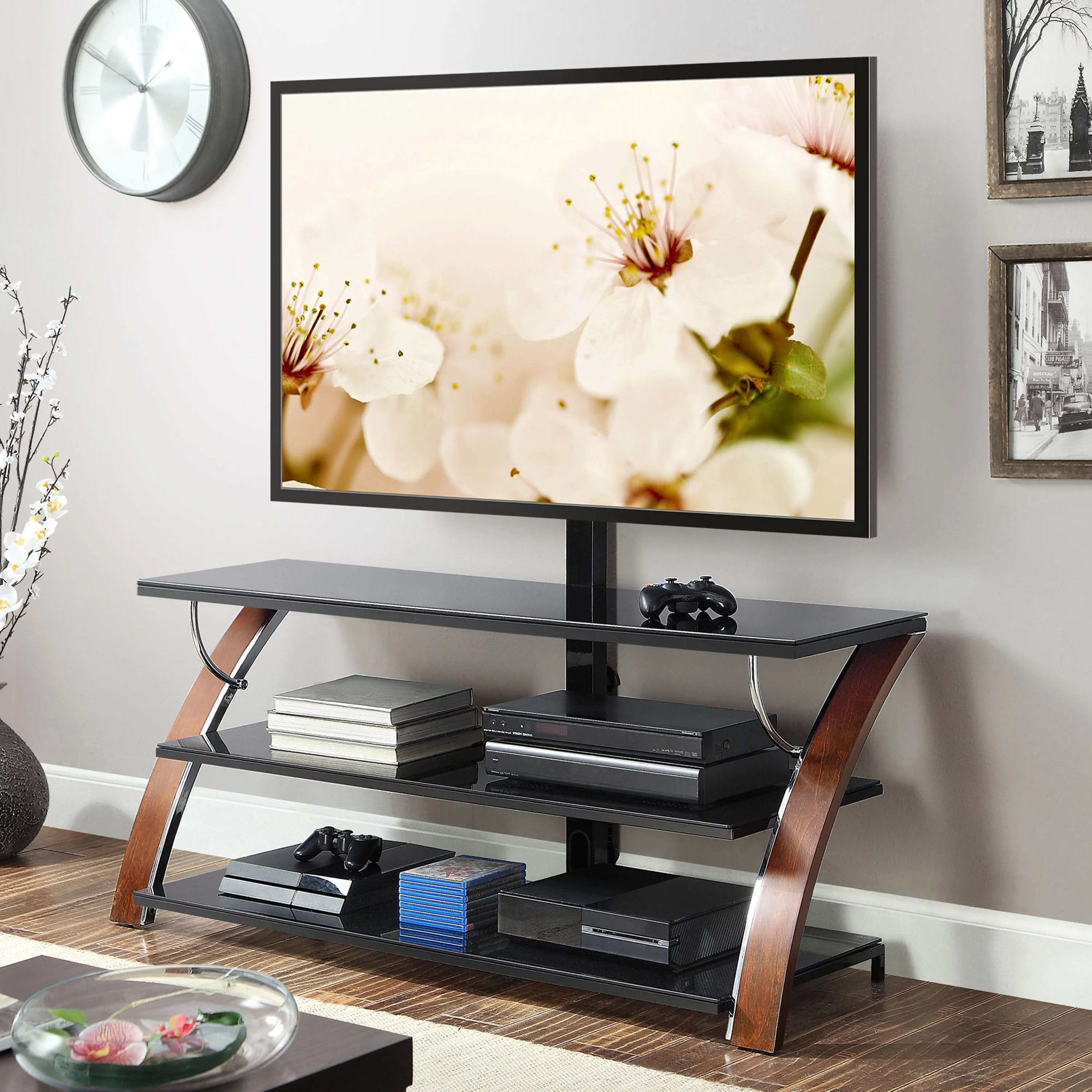 Whalen Payton 3-in-1 Flat Panel TV Stand for TVs up to 65″, Multiple Finishes Available