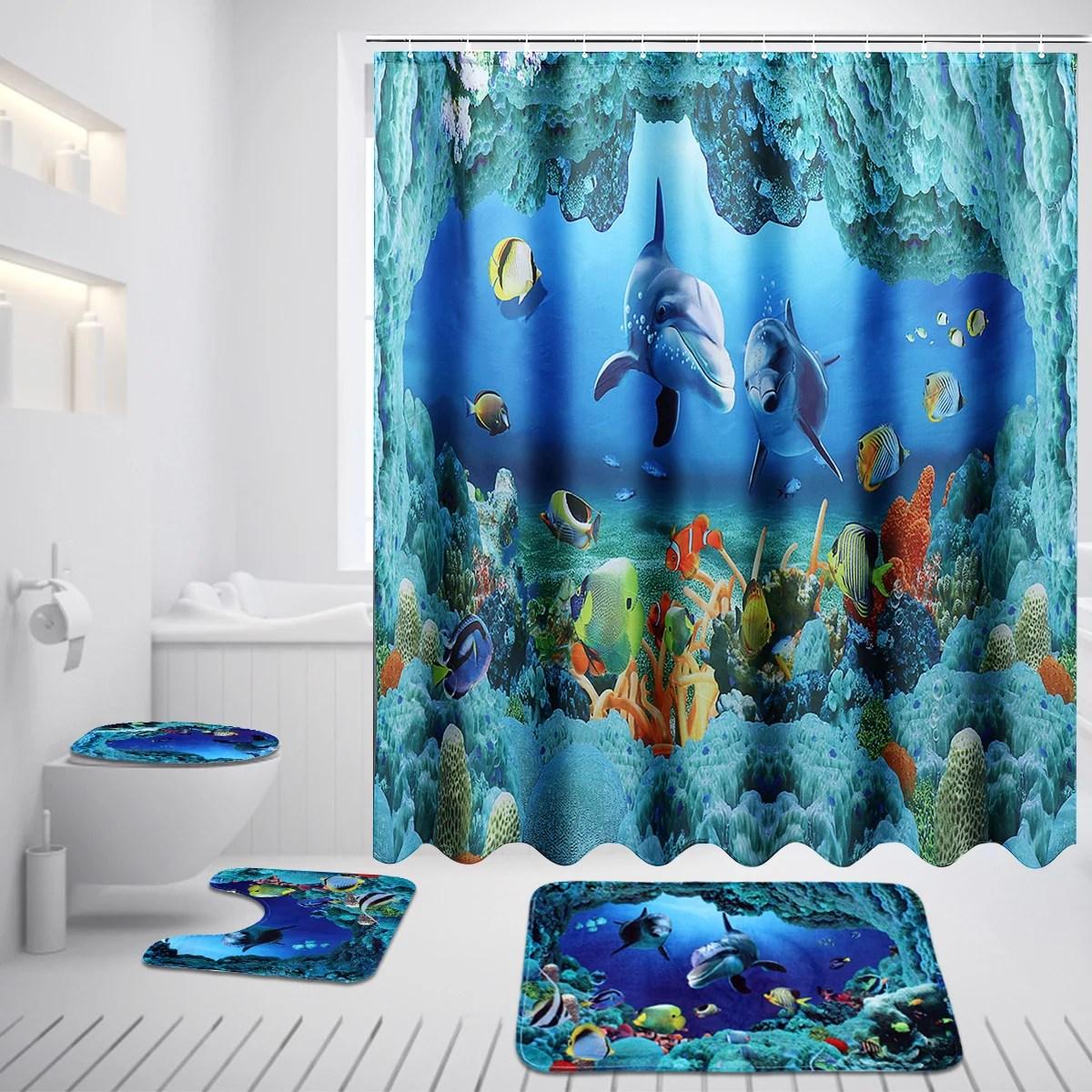 1 3 4pcs 3d deep sea dolphin pattern waterproof bathroom set shower curtain bath mat non slip rug lid toilet cover for home decor gift