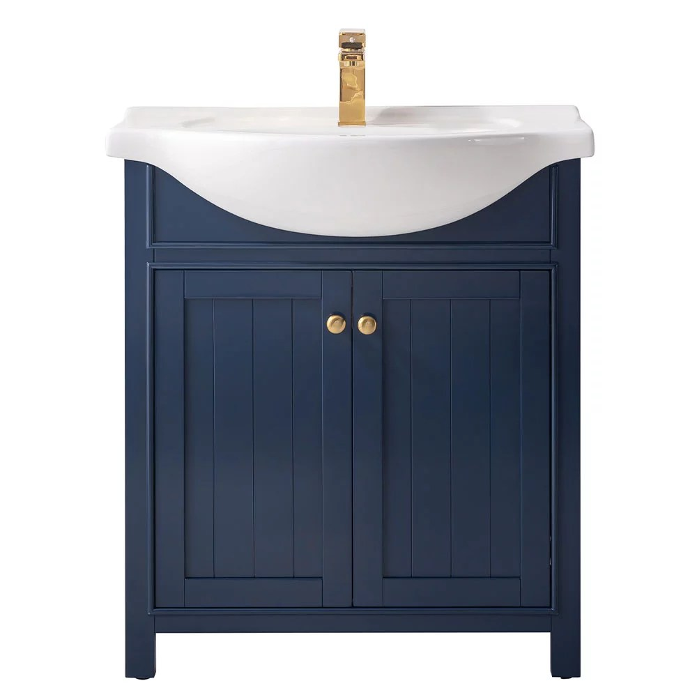 design element marian 30 single sink bathroom vanity in blue with white top no assembly required