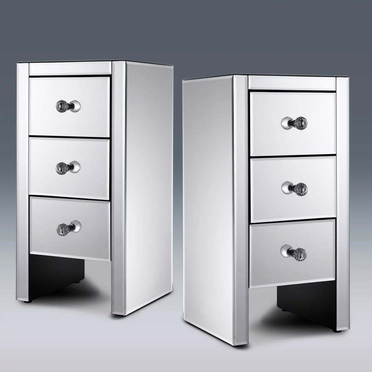 jaxpety set of 2 mirrored nightstand 3 drawer crystal accent silver side table walmart com