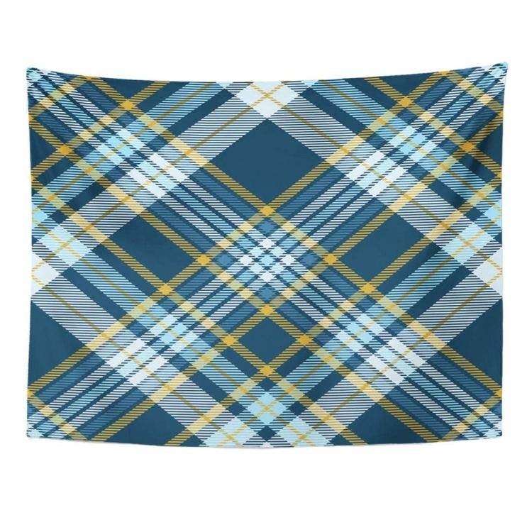 Zealgned Border Plaid Check Patten In Teal Green Robin Egg Blue And Mustard Yellow British Wall Art Hanging Tapestry Home Decor For Living Room Bedroom Dorm 51x60 Inch Walmart Com Walmart Com