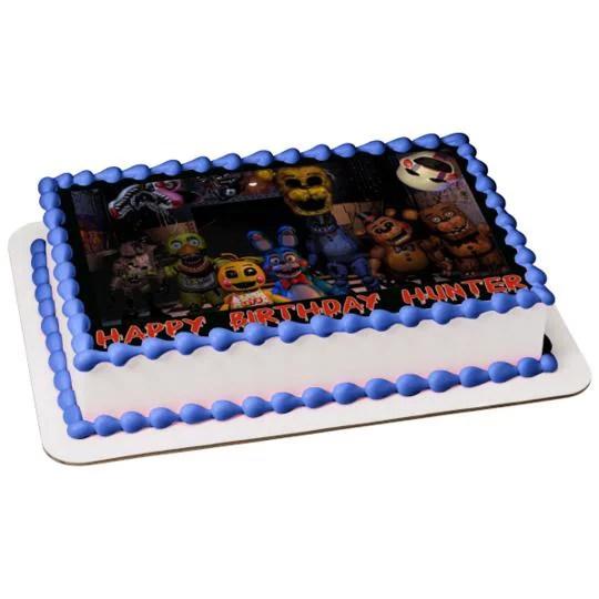Personalized Happy Birthday Five Nights At Freddys Bonnie Chica Freddy Fazbear Edible Cake Topper Image Abpid51009 Walmart Com Walmart Com