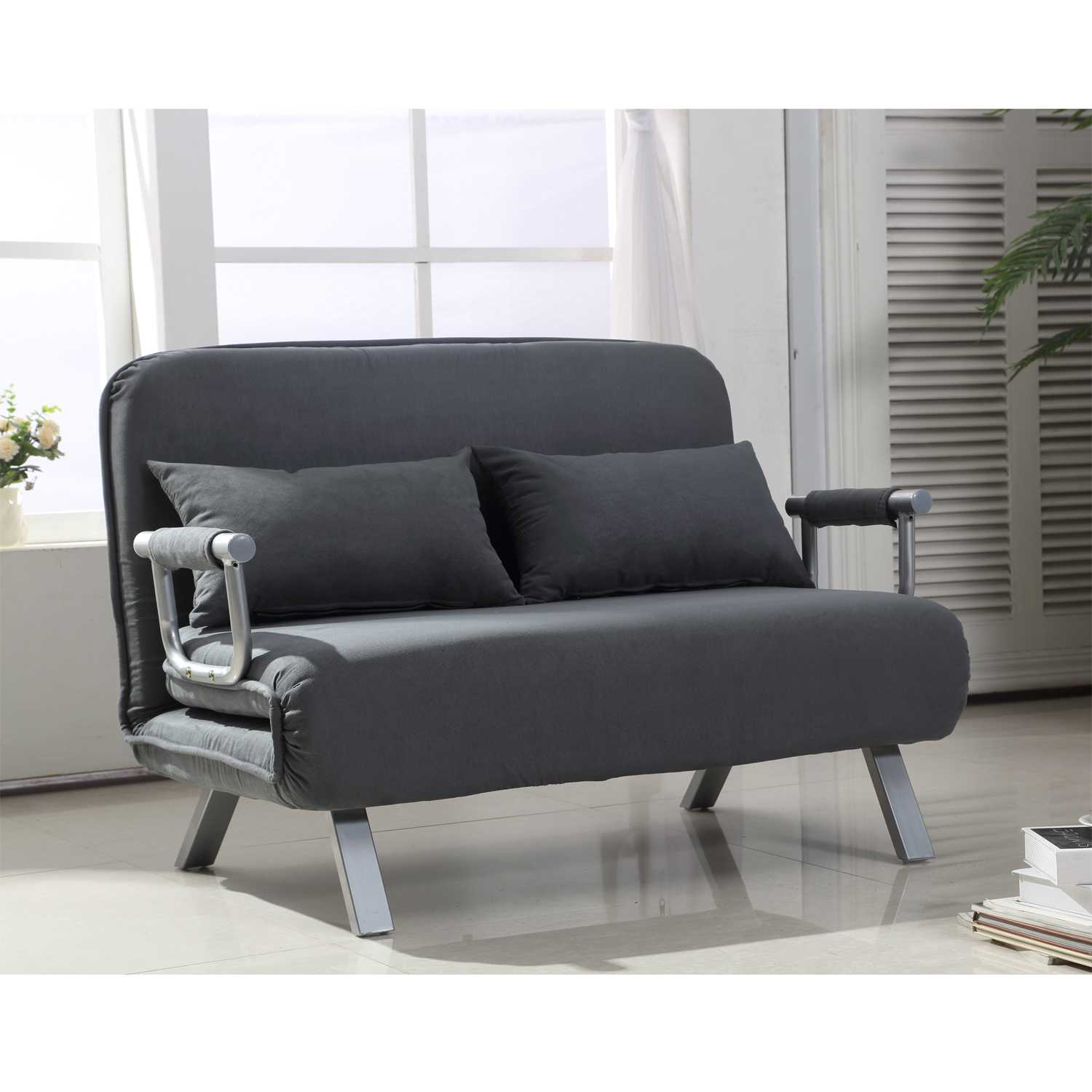 homcom small sofa couch futon with fold up bed and adjustable backrest featuring modern design with chic suede walmart com walmart com