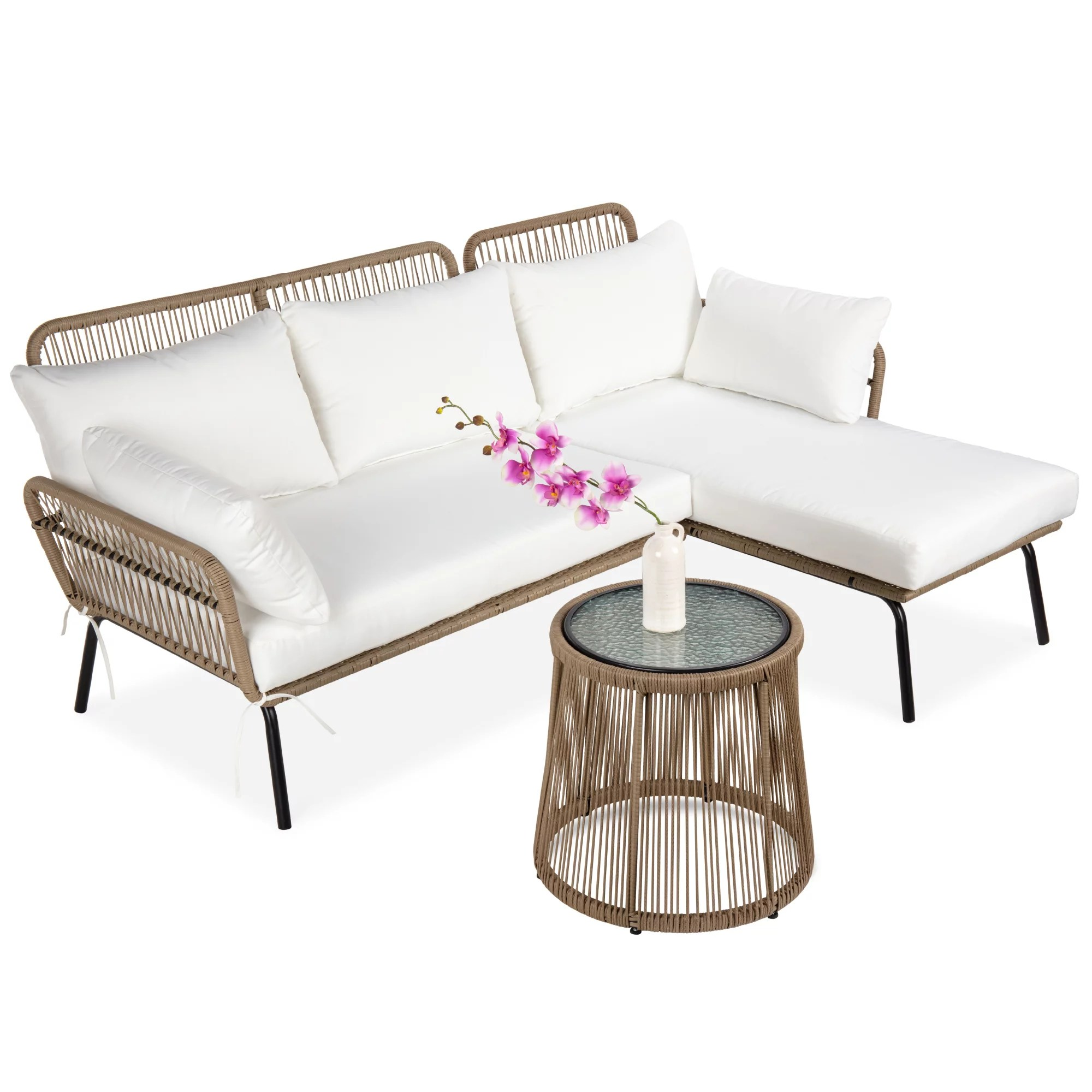 best choice products outdoor rope woven sectional patio furniture l shaped conversation set w cushions table white walmart com