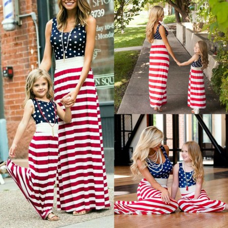 The Noble Collection Fourth of July Mother Daughter Matching Clothes Mom Girls Long Maxi Dress