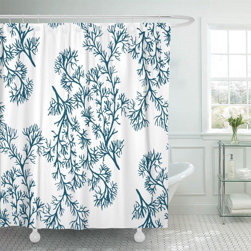 ksadk reef watercolor blue green coral on white design pattern fills underwater ocean sea shower curtain 66x72 inch walmart com