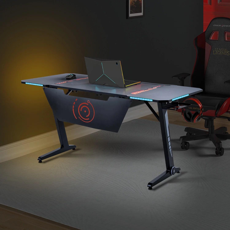 office computer table modern z shaped office desk pc computer desk with rgb led lights headphone hook adjustable pads large gaming workstation