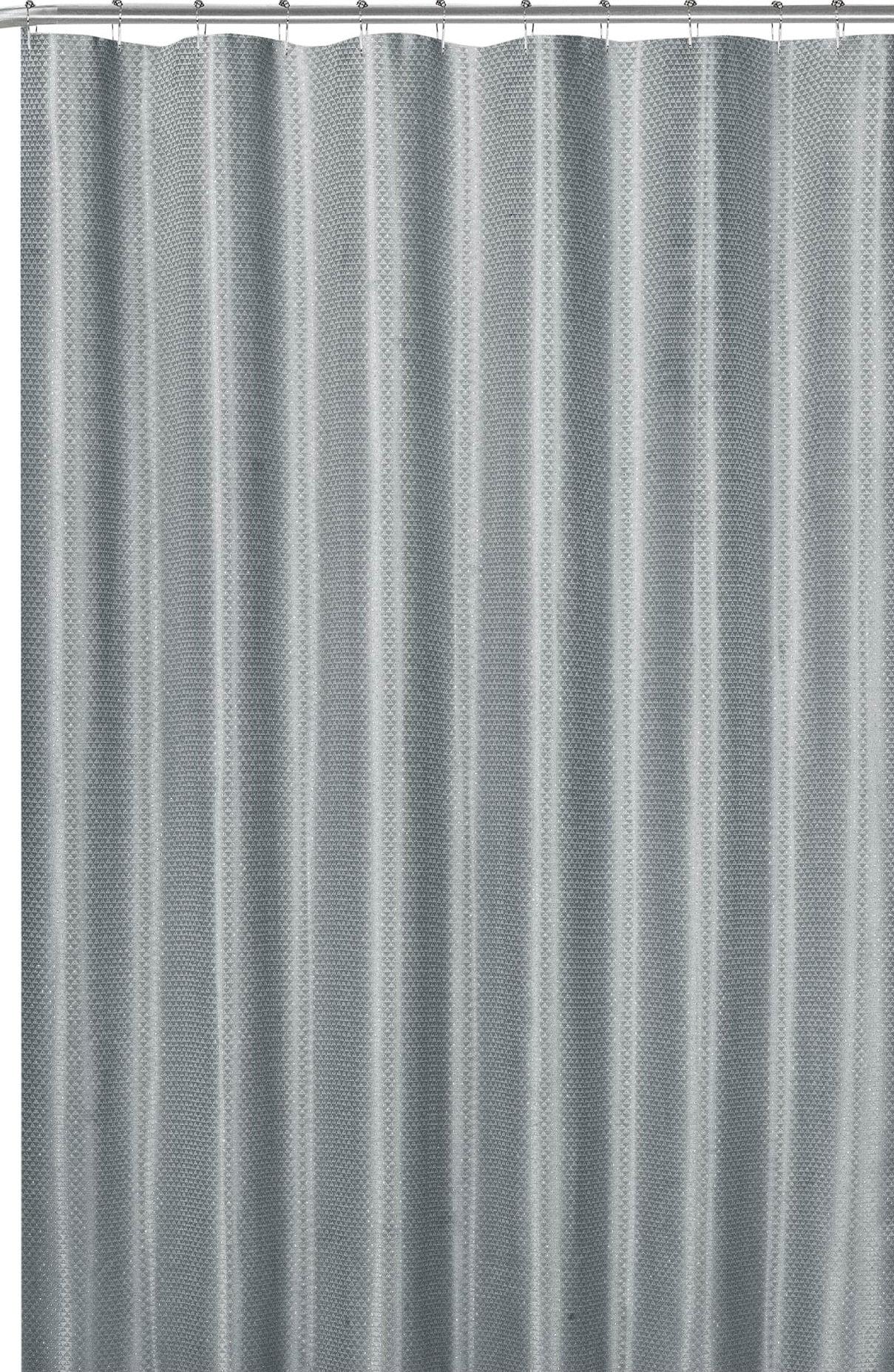 gray fabric shower curtain modern geometric with silver metallic accent walmart com