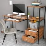 Mecor Computer Desk With 2 Drawers Modern Writing Desk With Bookshelf Pc Laptop Study Table Workstation For Home Walnut Brown Walmart Com Walmart Com