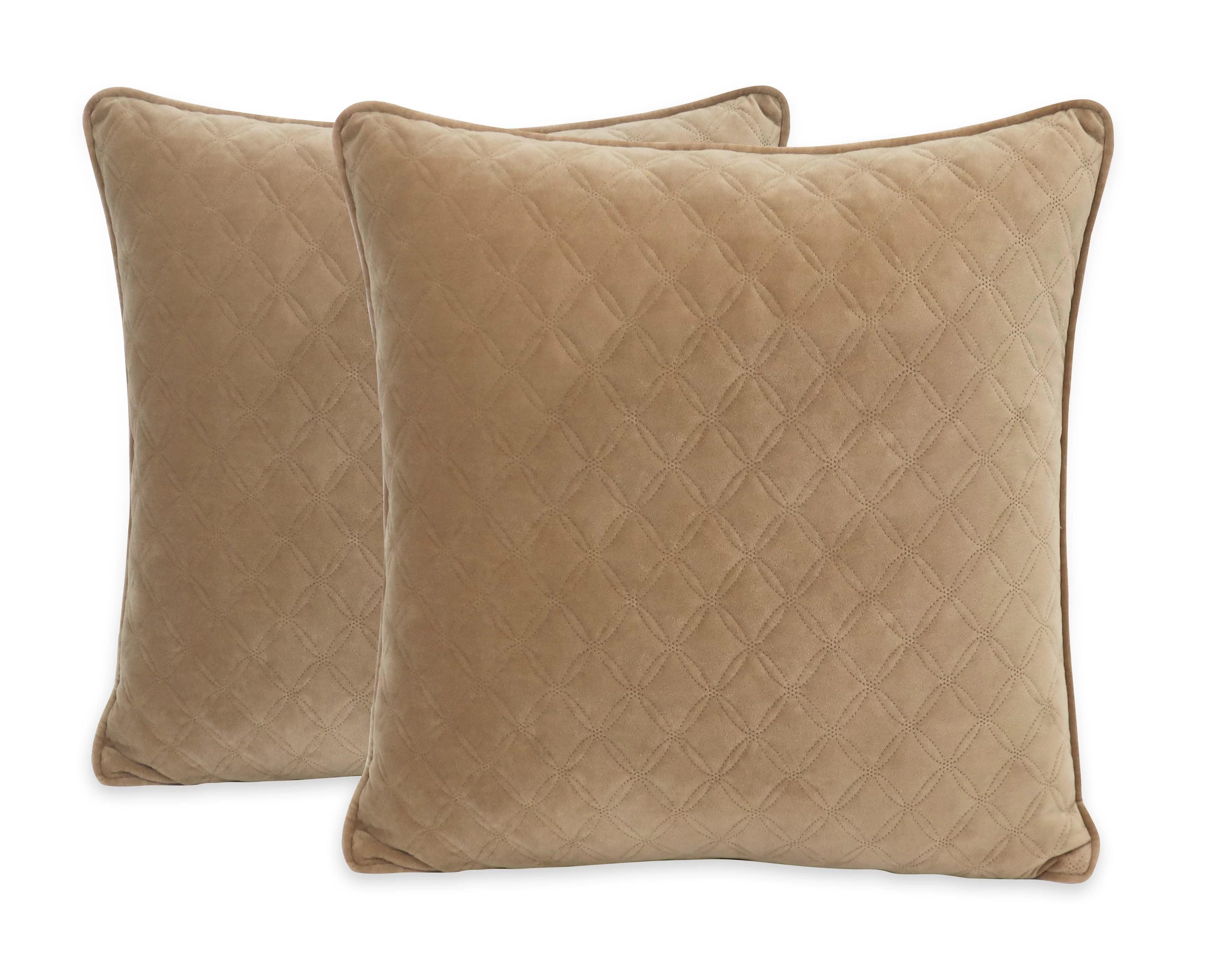 better homes gardens quilted look throw pillows 19 x 19 2 pack tan walmart com