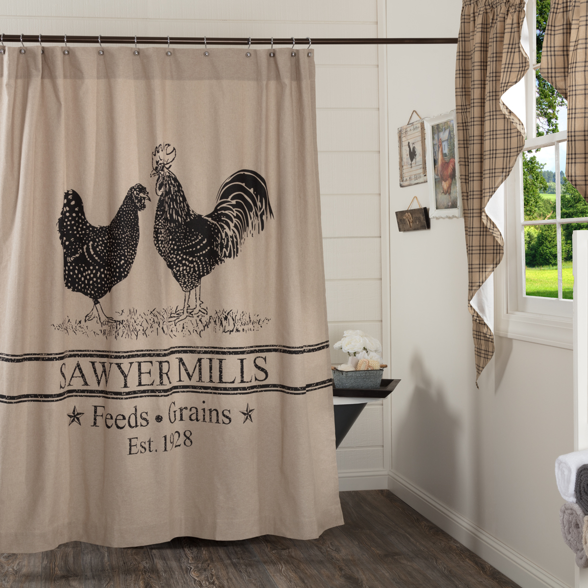 vhc brand sawyer mill 100 cotton shower curtain 72x72 charcoal
