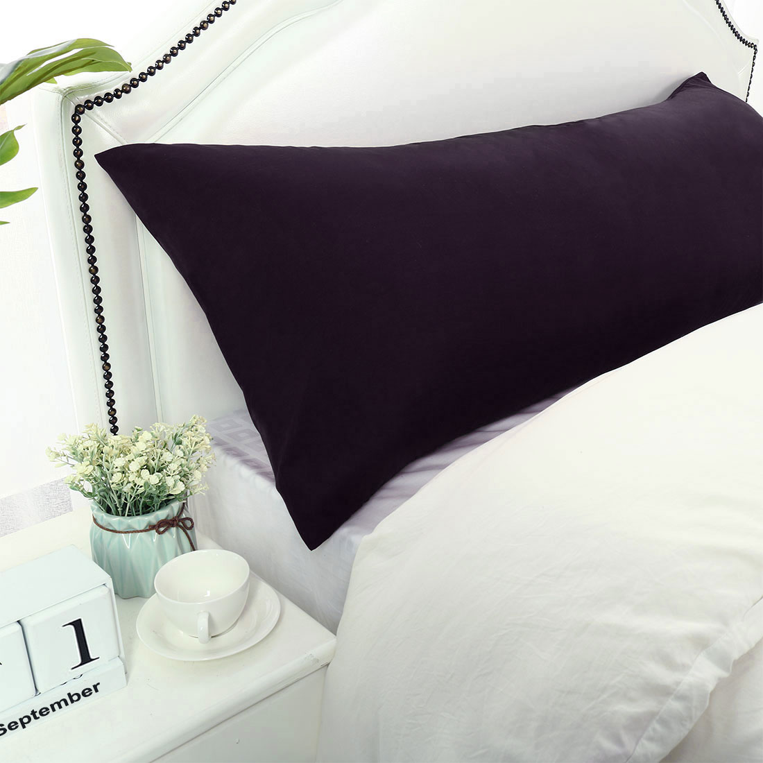 silky soft pillow cases 1800 microfiber bolster pillow cover eggplant 20x72