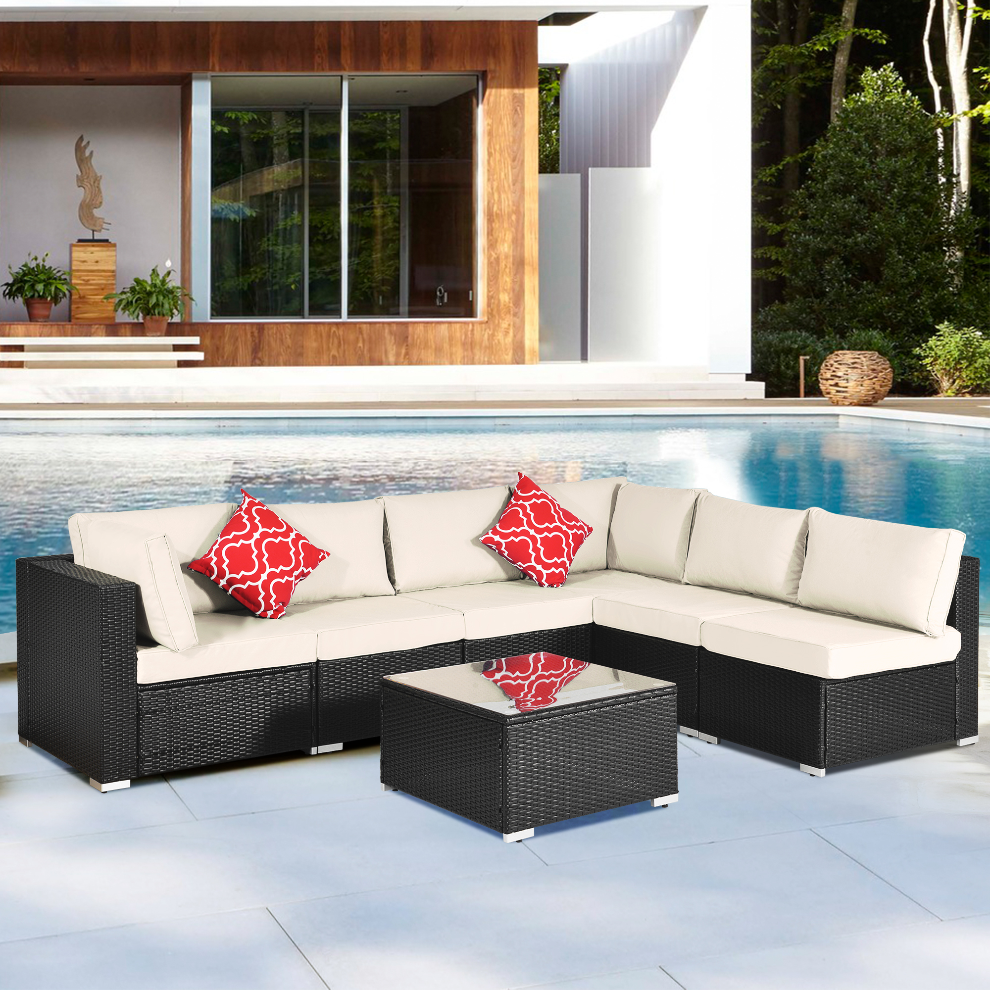 clearance 7 piece patio furniture set 6 rattan wicker chairs with glass dining table all weather outdoor conversation set with cushions for