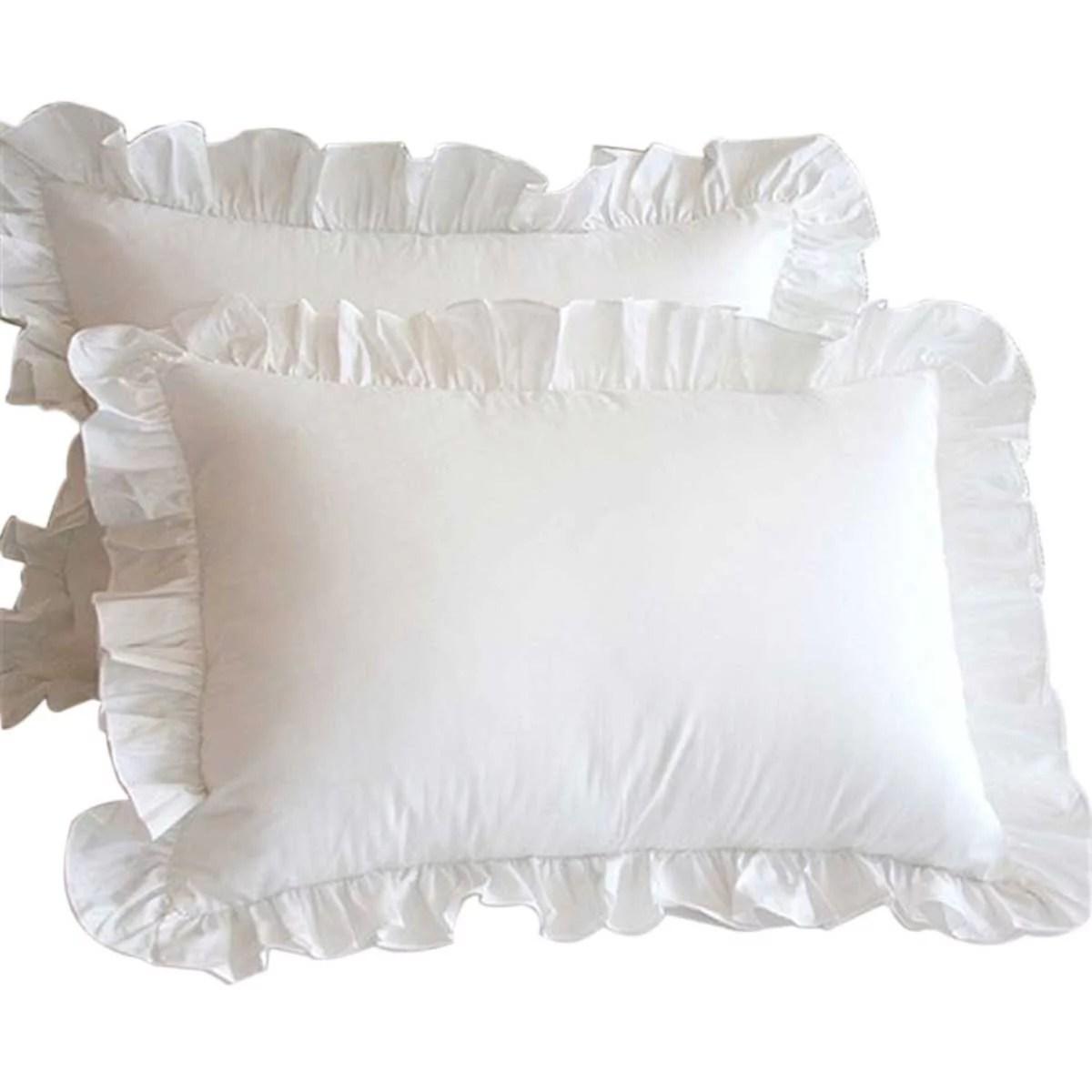 1pcs pillow case white ruffles pillow cover home textile decoration pillowcase for bedding room