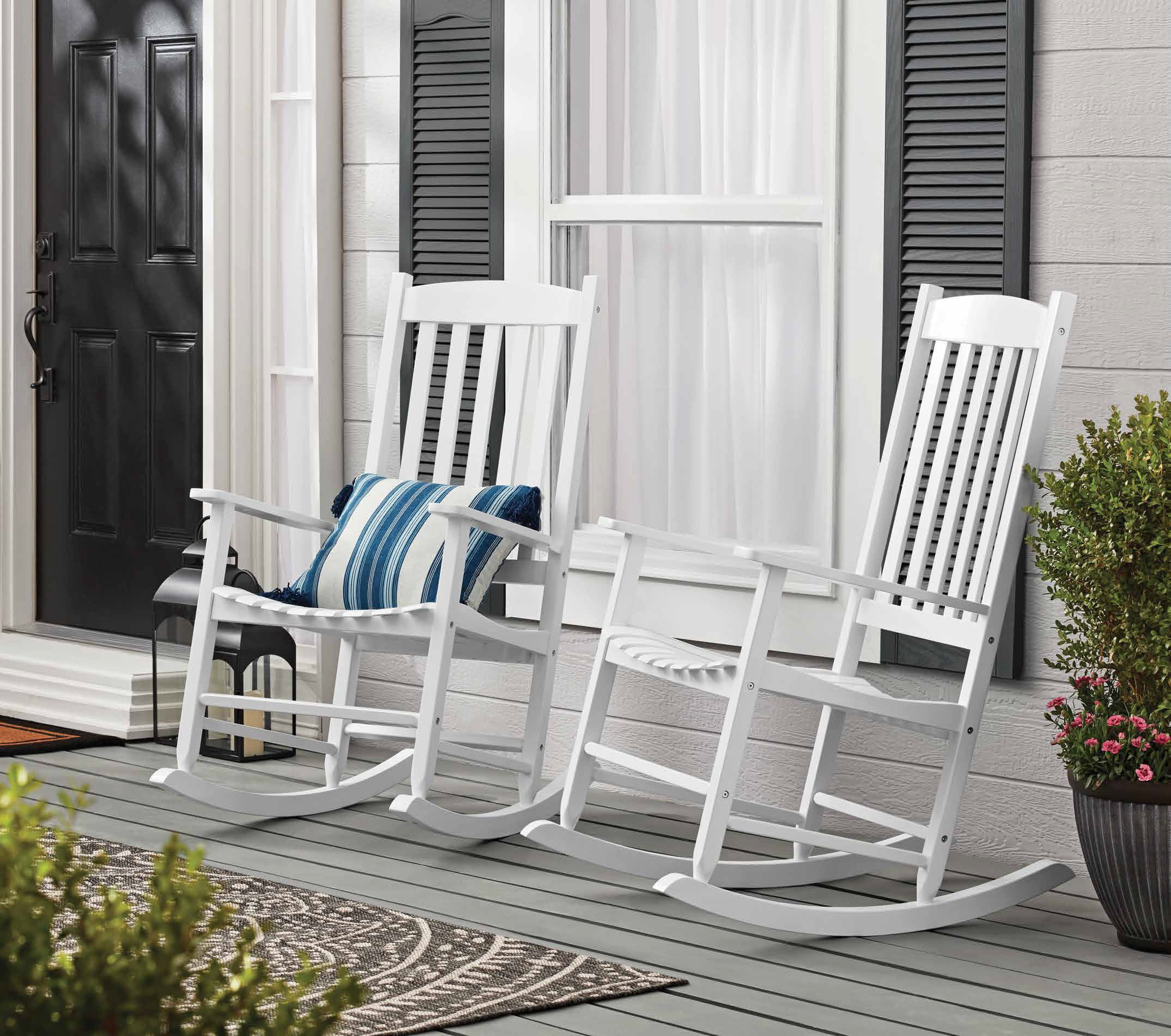 mainstays outdoor wood porch rocking chair white color weather resistant finish