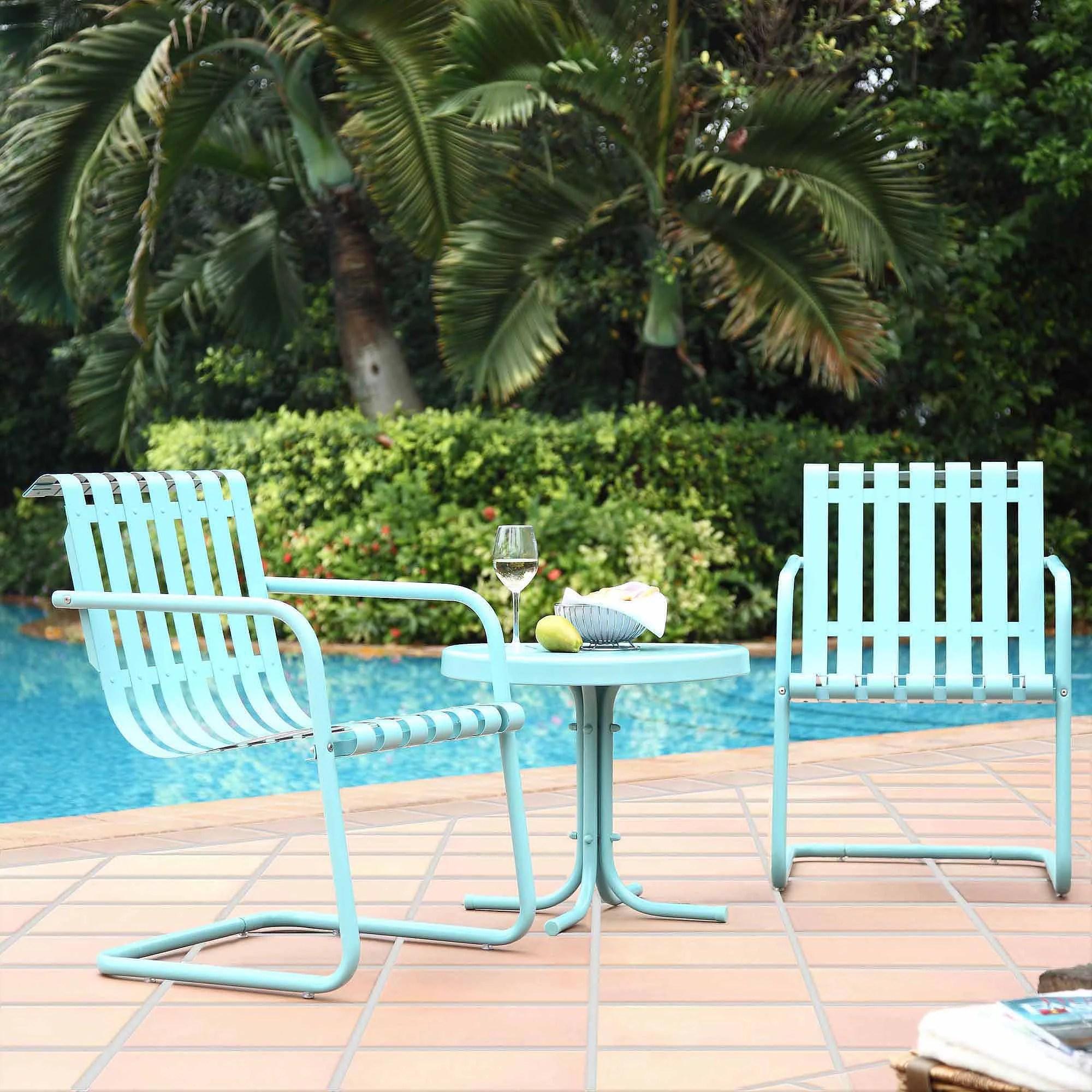 crosley furniture gracie 3 piece metal outdoor conversation seating set walmart com