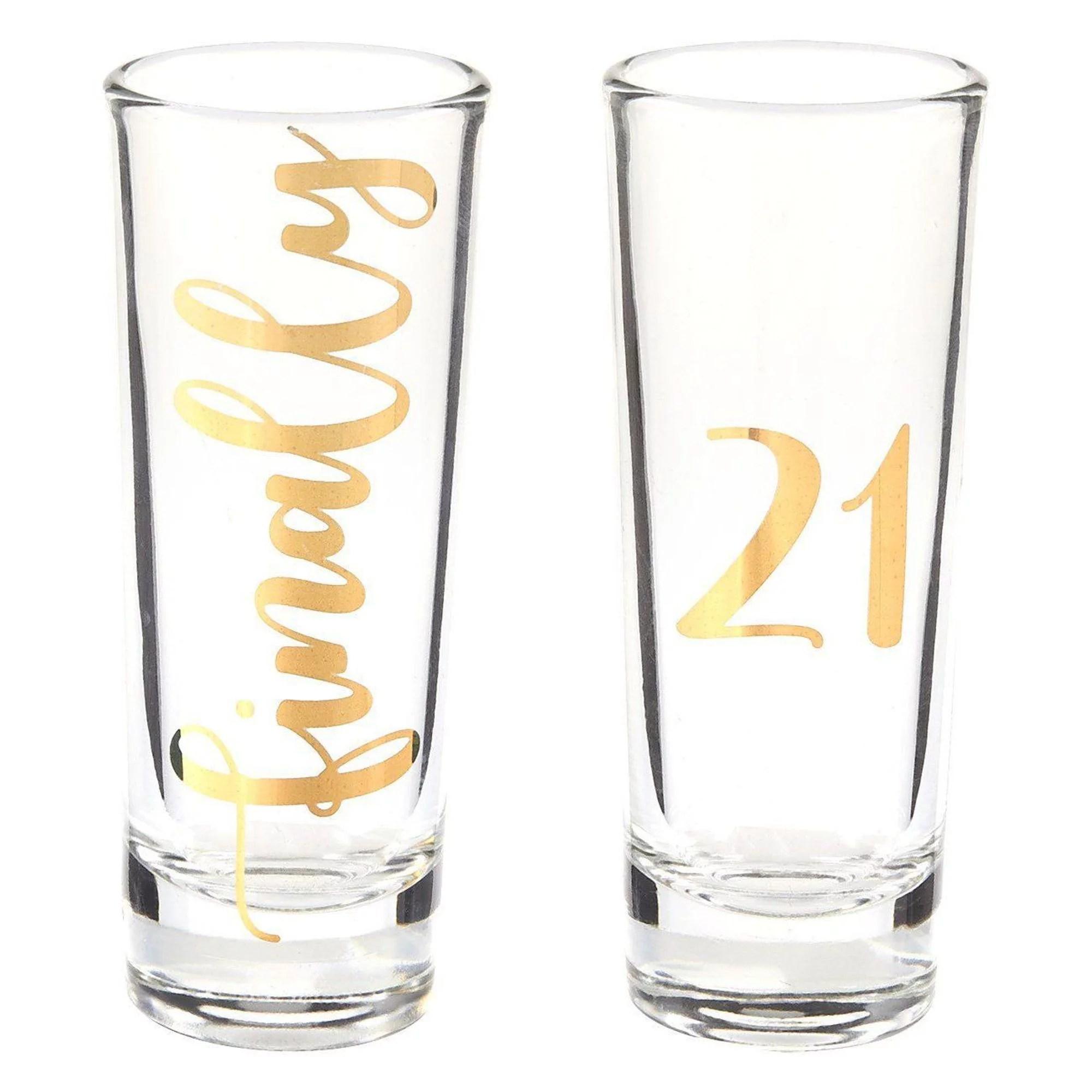 Finally 21 Shot Glasses 21st Birthday Novelty Gifts Party Favors Celebrate Turning Twenty One Legal Drinking Age Set Of 2 2 Oz Each Walmart Com Walmart Com