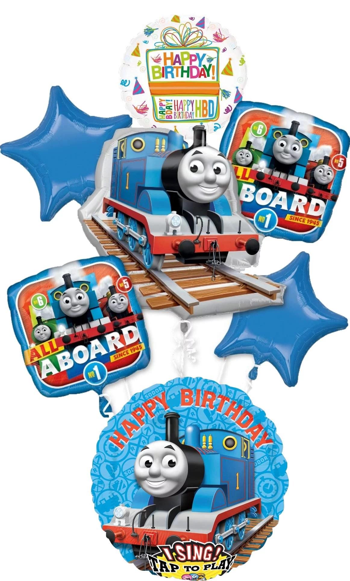 Thomas The Train Party Supplies Birthday Sing A Tune Tank Engine Balloon Bouquet Decorations Walmart Com Walmart Com