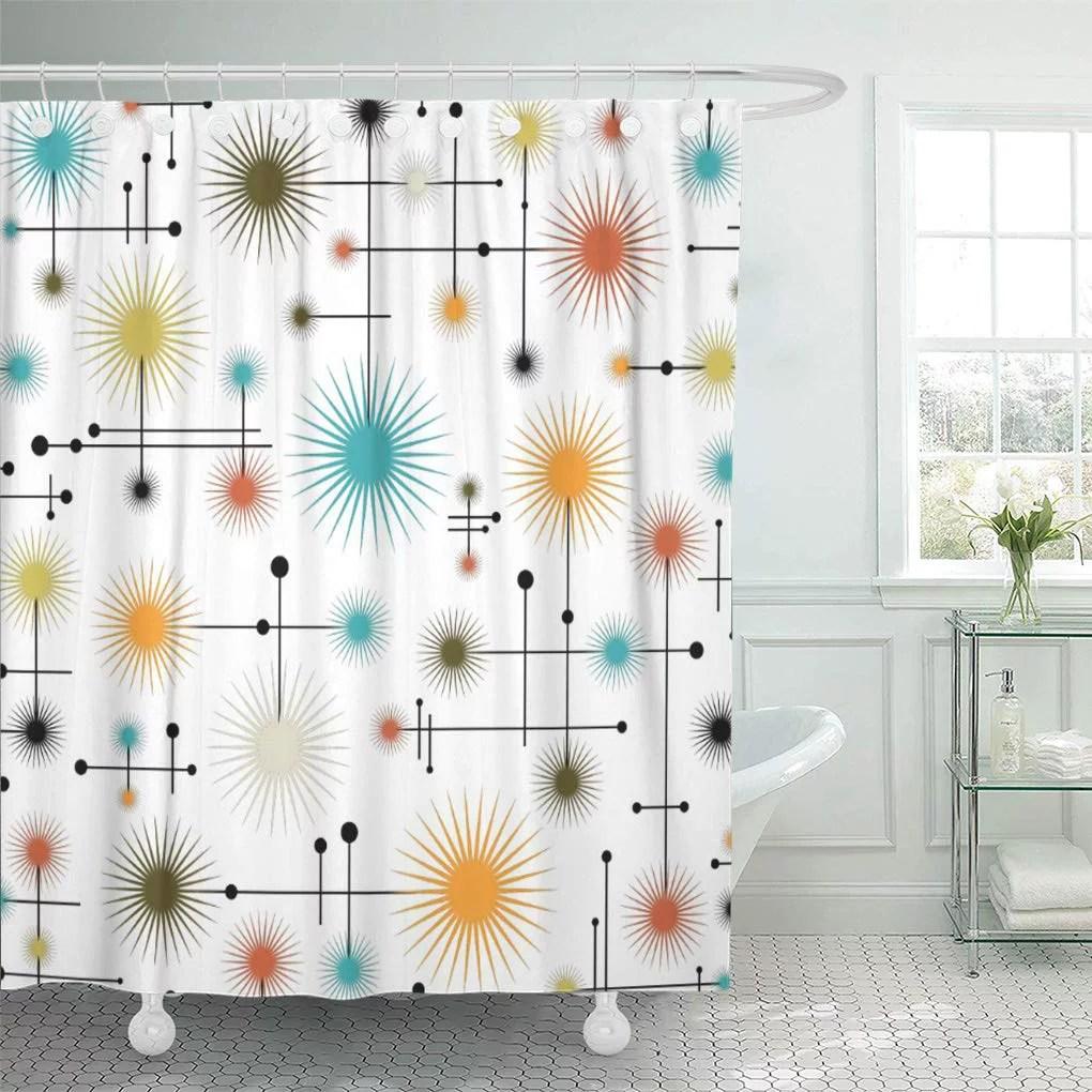 cynlon star retro starbursts go mid century modern lines 1950s bathroom decor bath shower curtain 60x72 inch walmart com
