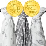 Kids N Such Muslin Swaddle Blanket Set Wanderer Large 47 X 47 Inch Super Soft Bamboo Blankets Arrow Feather And Stars 3 Pack Baby Shower Gift Bundle Of Swaddles