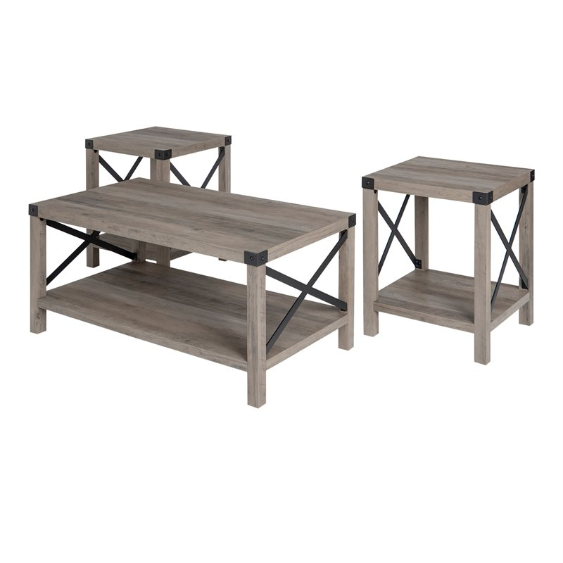walker edison 3 piece rustic wood and metal coffee table set in gray wash