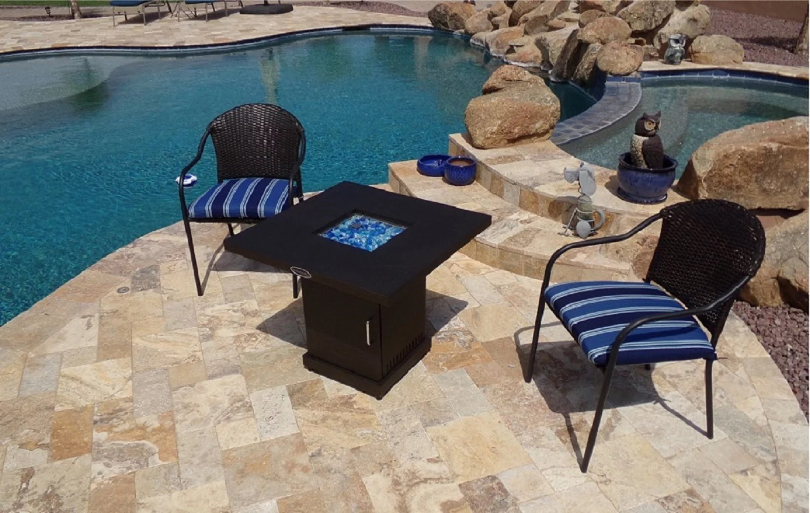 az patio heaters outdoor fire pit in coffee with cover and bahama blend fire glass