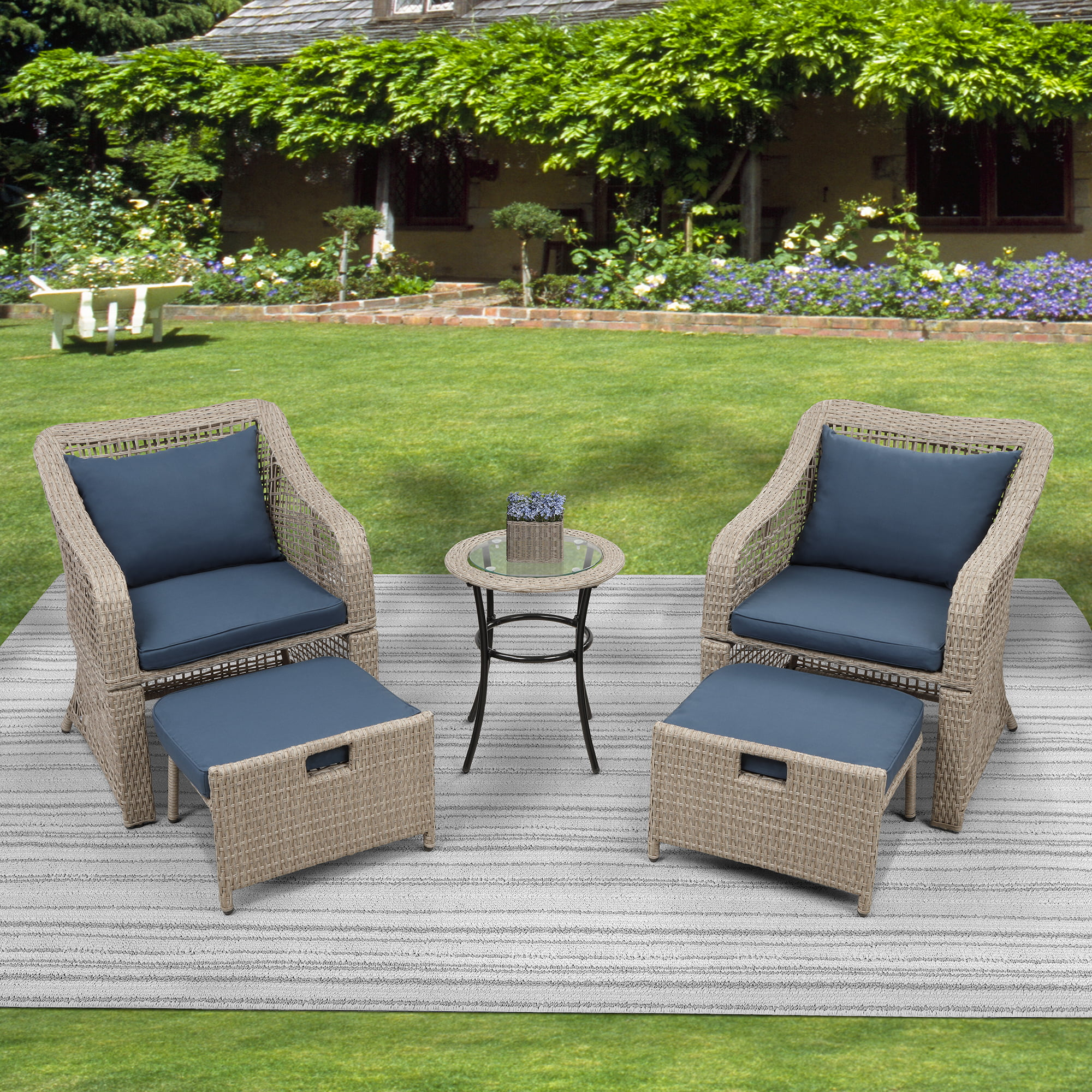 outdoor patio furniture sets 5 piece wicker patio bar set 2pcs arm chairs 2 footstool coffee table outdoor conversation sets for backyard lawn