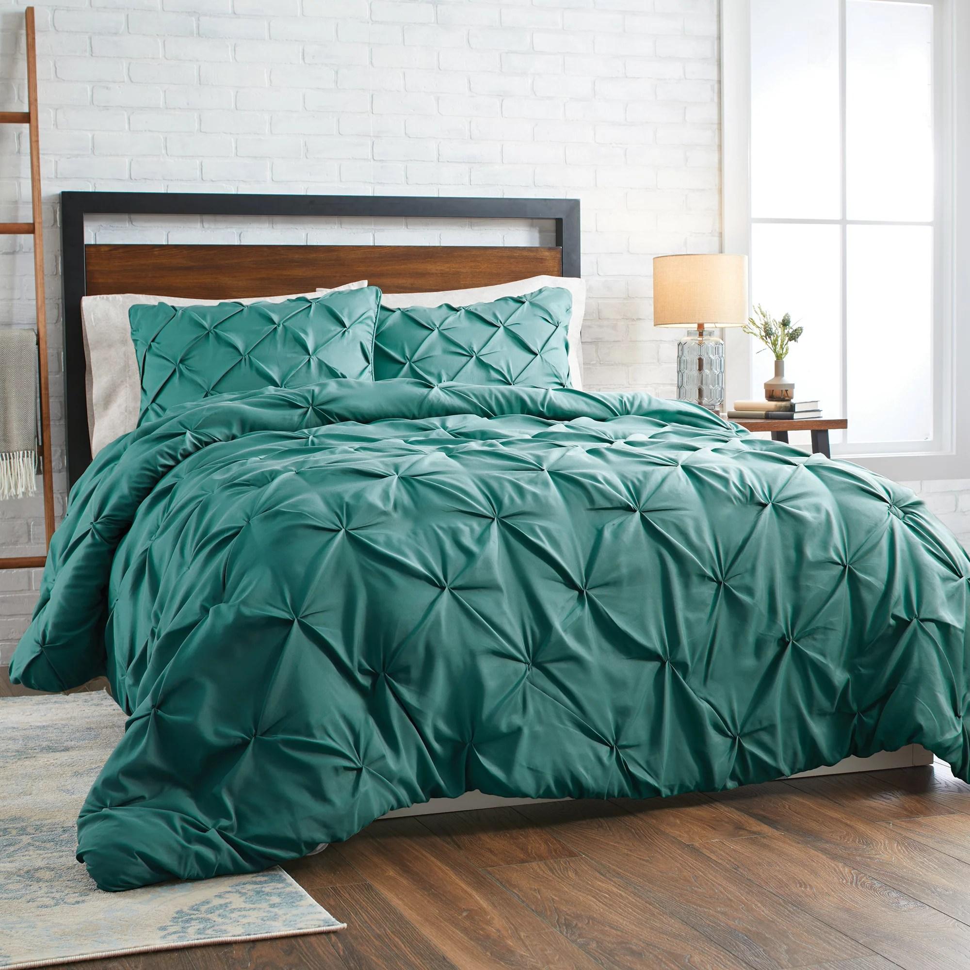 better homes gardens teal pintuck 3 piece comforter set king walmart com