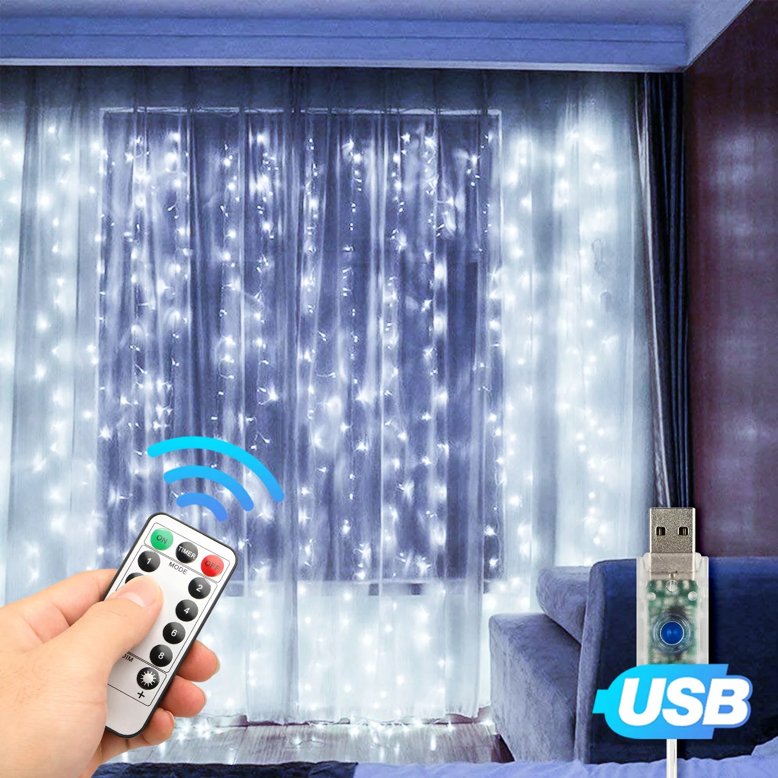 window curtain string light usb 8 modes setting 300 led curtain fairy lights with remote control timer for bedroom home garden wall wedding party
