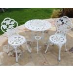 Belleze 3 Piece Outdoor Patio Bistro Set Rose Design Weather Resistant Round Table Chairs Walmart Com Walmart Com
