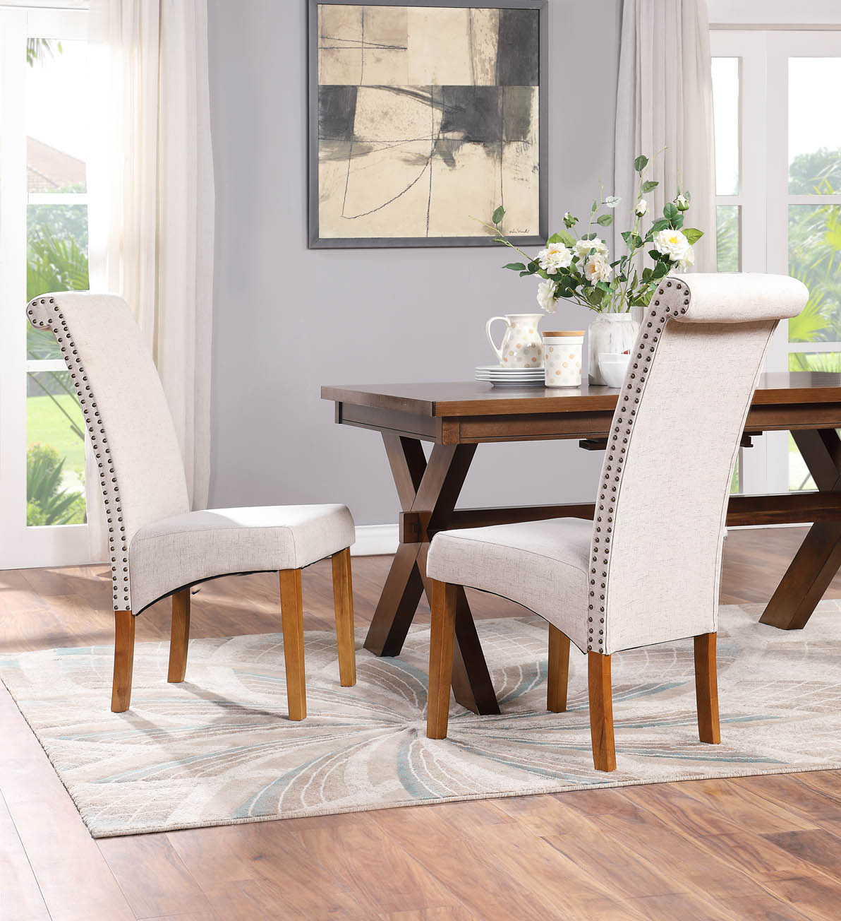 Clearance 2pcs 41 X 17 X 20 Parsons Tufted Dining Chairs