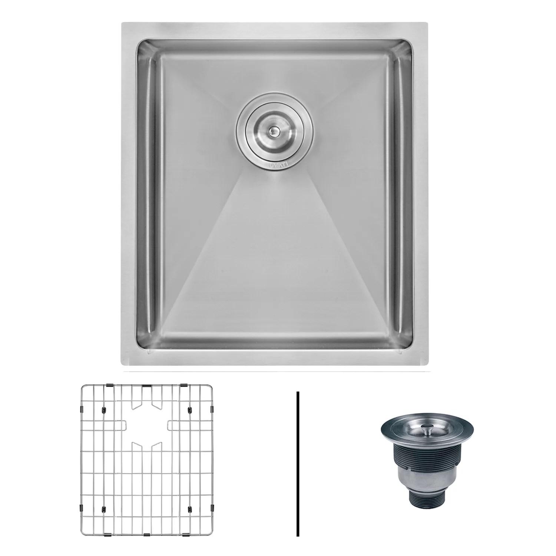ruvati 14 inch undermount 16 gauge tight radius bar prep sink stainless steel single bowl rvh7114
