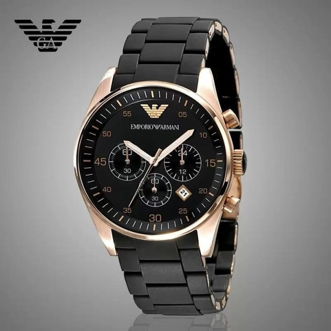 Emporio Armani AR5905 Chronograph Rose Gold Black Men's Fashion Watch