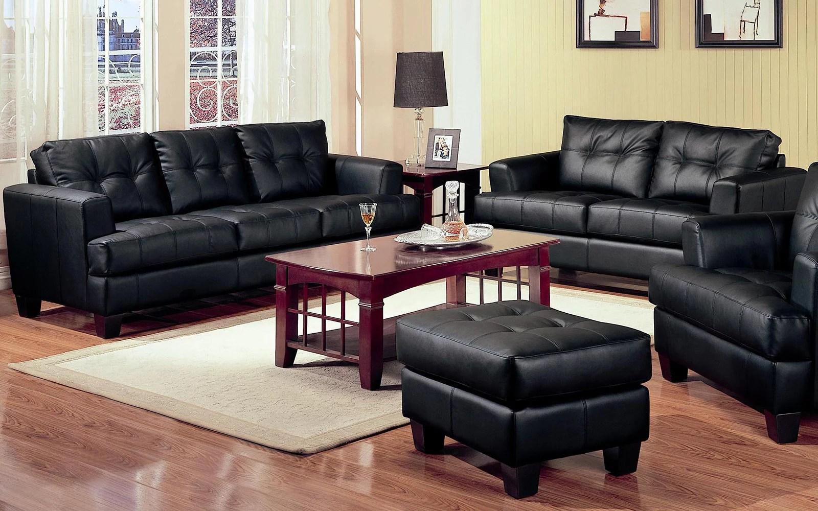 2 piece modern black bonded leather sofa and loveseat livingroom set walmart com