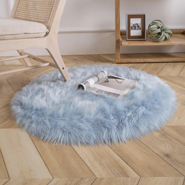 Deluxe Soft Faux Sheepskin Fur Series Decorative Indoor Area Rug 3 X 3 Feet Round Light Blue 1 Pack Walmart Com Walmart Com