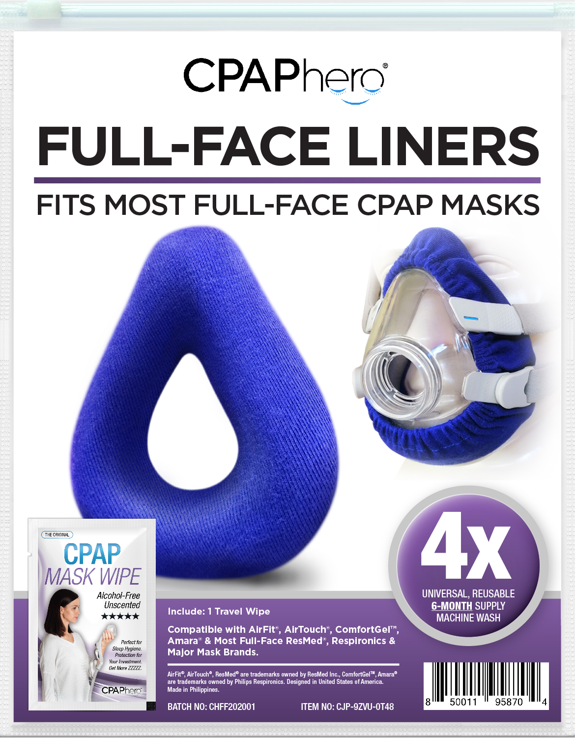 cpap mask liner 4 pack plus travel wipe by cpaphero for full face masks airfit etc walmart com