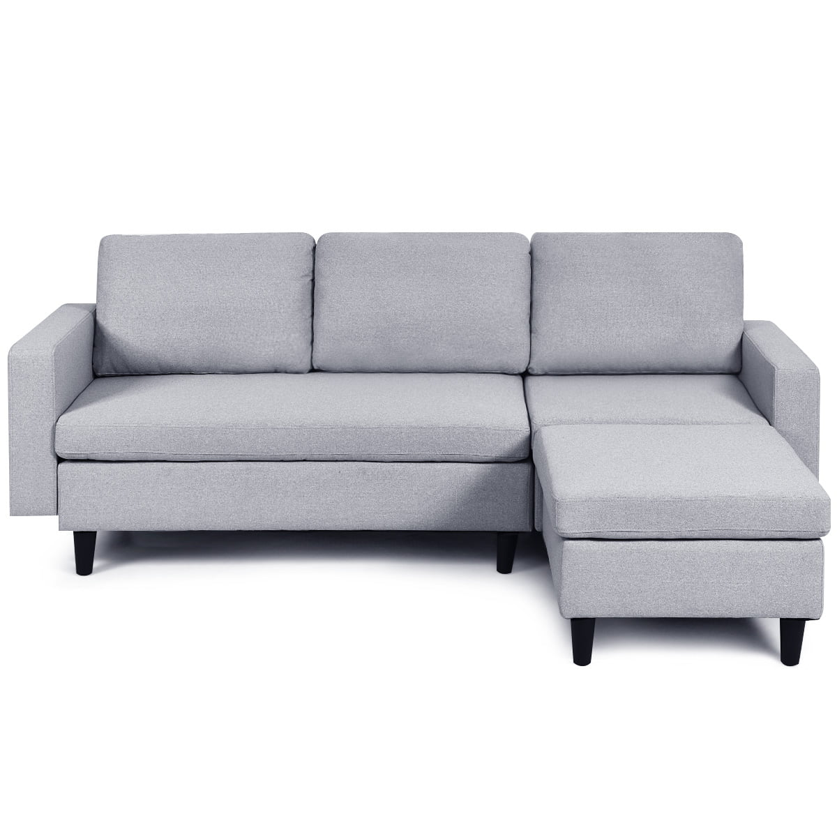 costway convertible sectional sofa couch l shaped couch massage back cushion gray