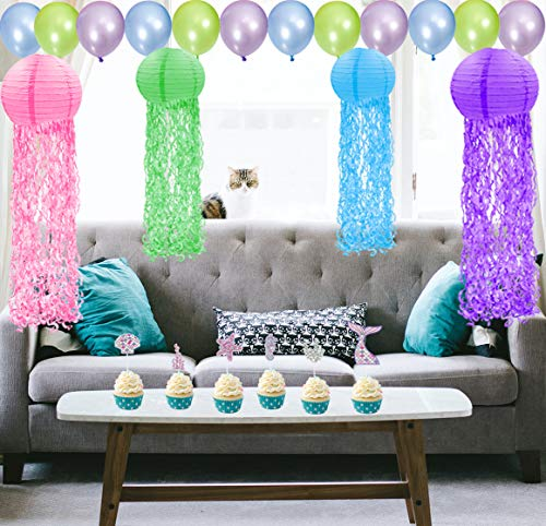 Mermaid Party Decorations Birthday Decorations Little Jellyfish Paper Lanterns For Under The Sea Party Decorations Mermaid Birthday Party Supplies For Girls Walmart Com Walmart Com