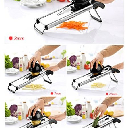 V Blade Stainless Metal Mandoline Slicer – Fruit and Meals Slicer, Vegetable Cutter, Cheese Grater – Vegetable Julienne Slicer with Surgical Grade Stainless Metal Blades – Consists of 6 Totally different Inserts 11e1eb40 77a4 4f21 affc eefa79f14ef1 1