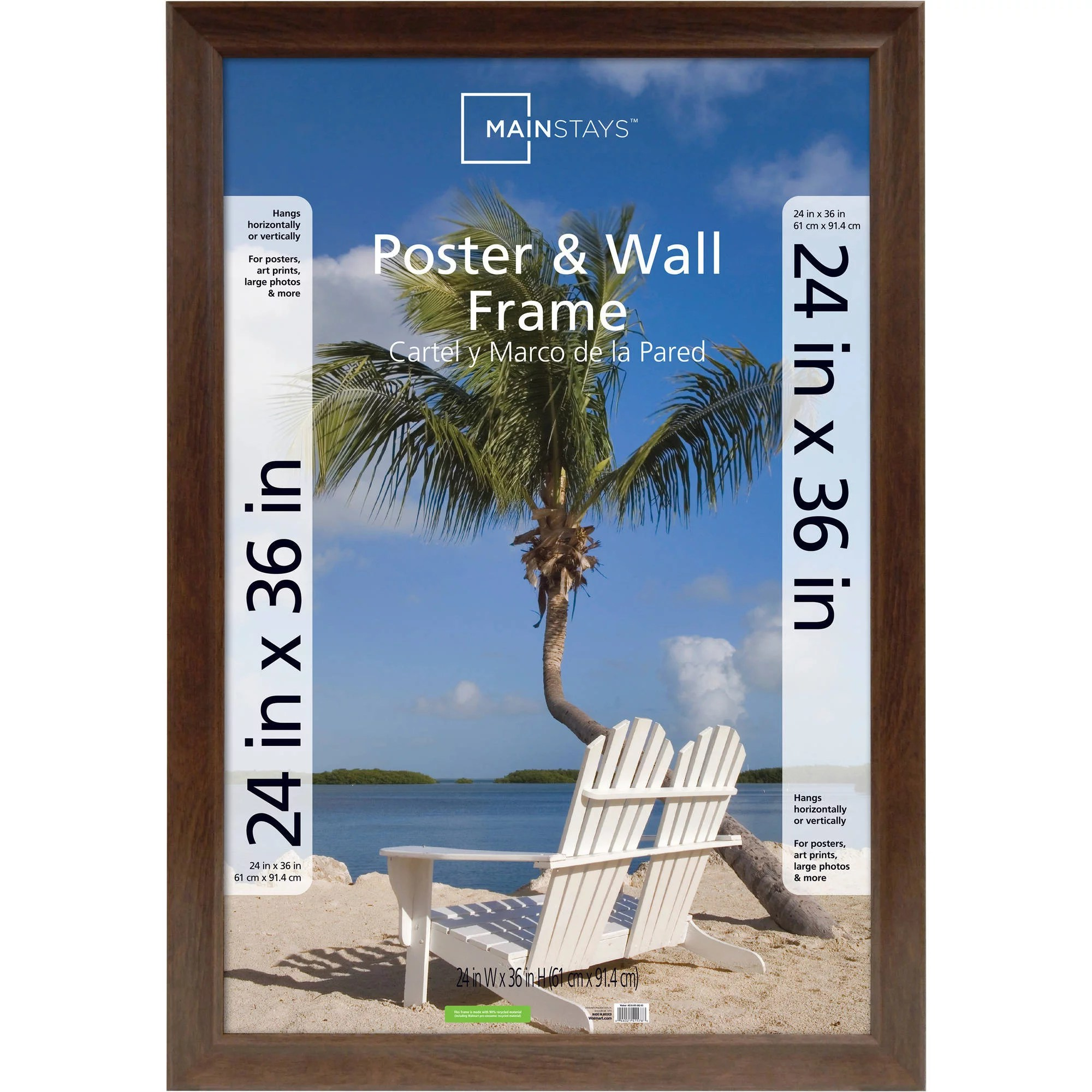 mainstays 24x36 wide walnut poster and picture frame walmart com