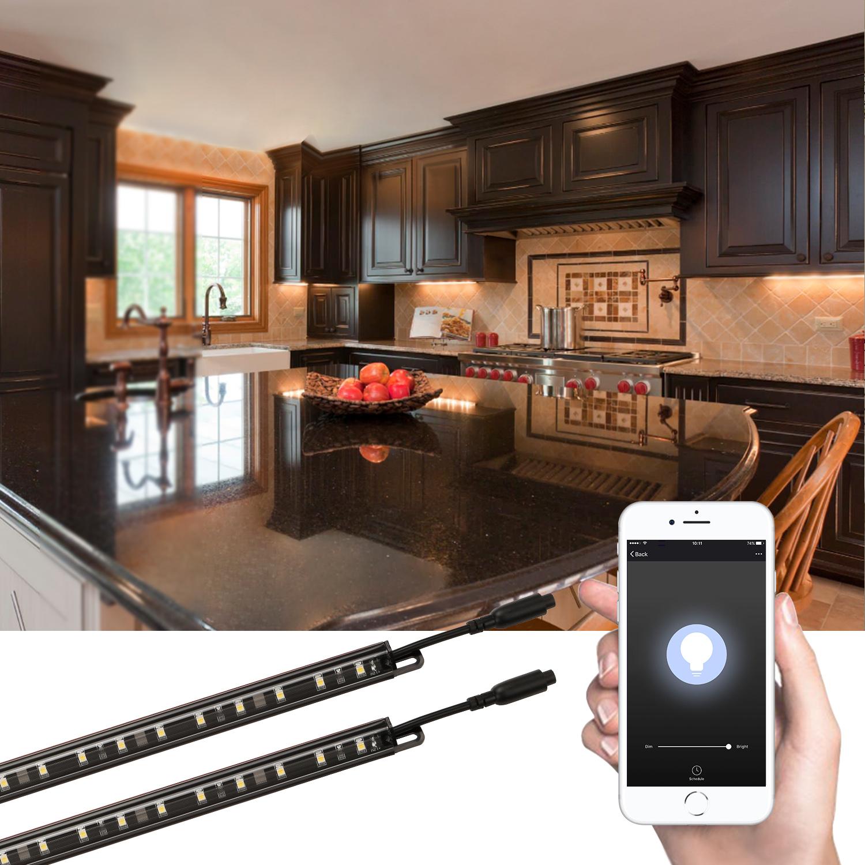 smart dimmable under cabinet lighting for shelf only support 2 4g 5000k daylight 6 set