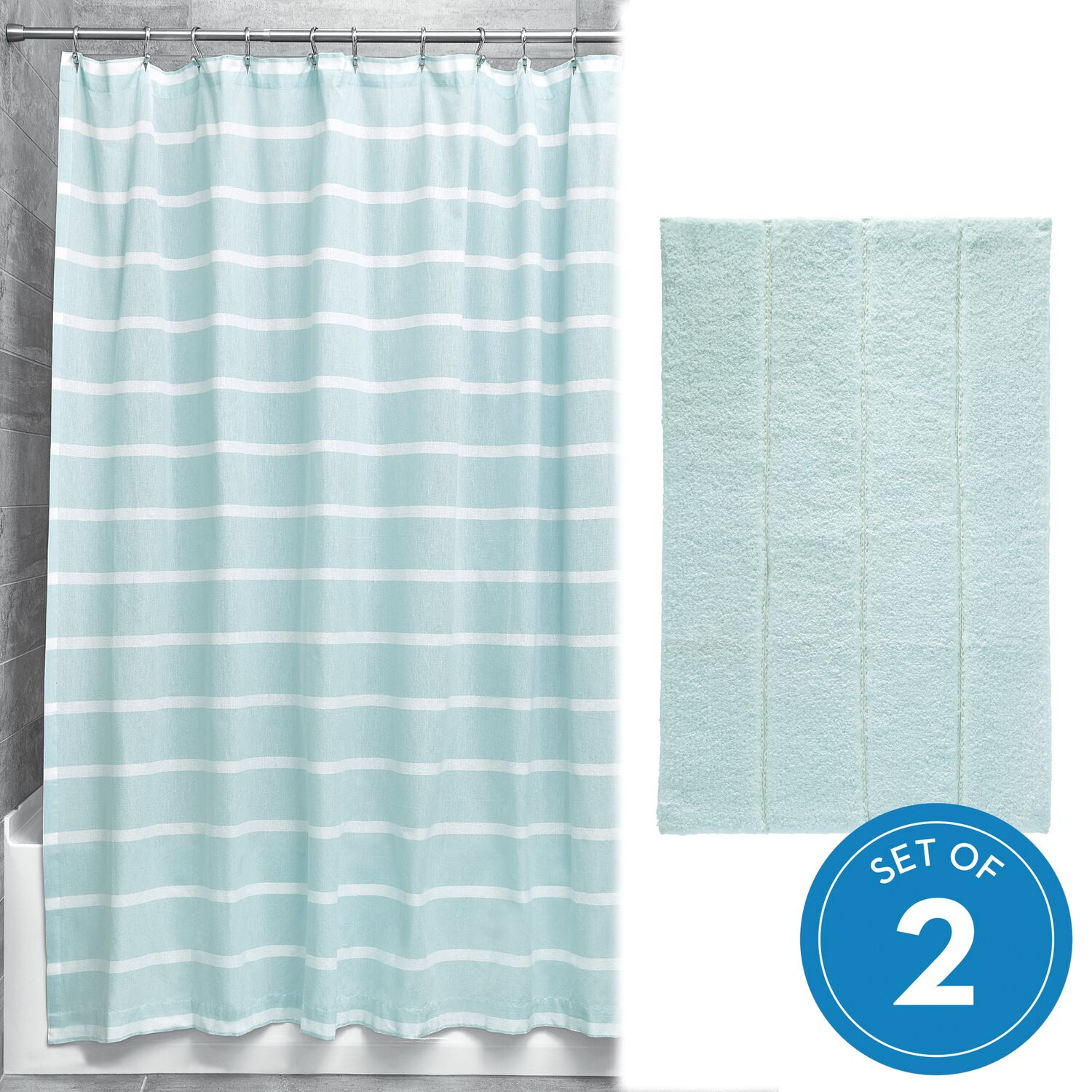 idesign thin stripe shower curtain and rug 2 piece combo set spa blue and white