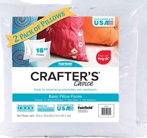 fairfield crafter s choice 18 x18 pillow insert pack of 2