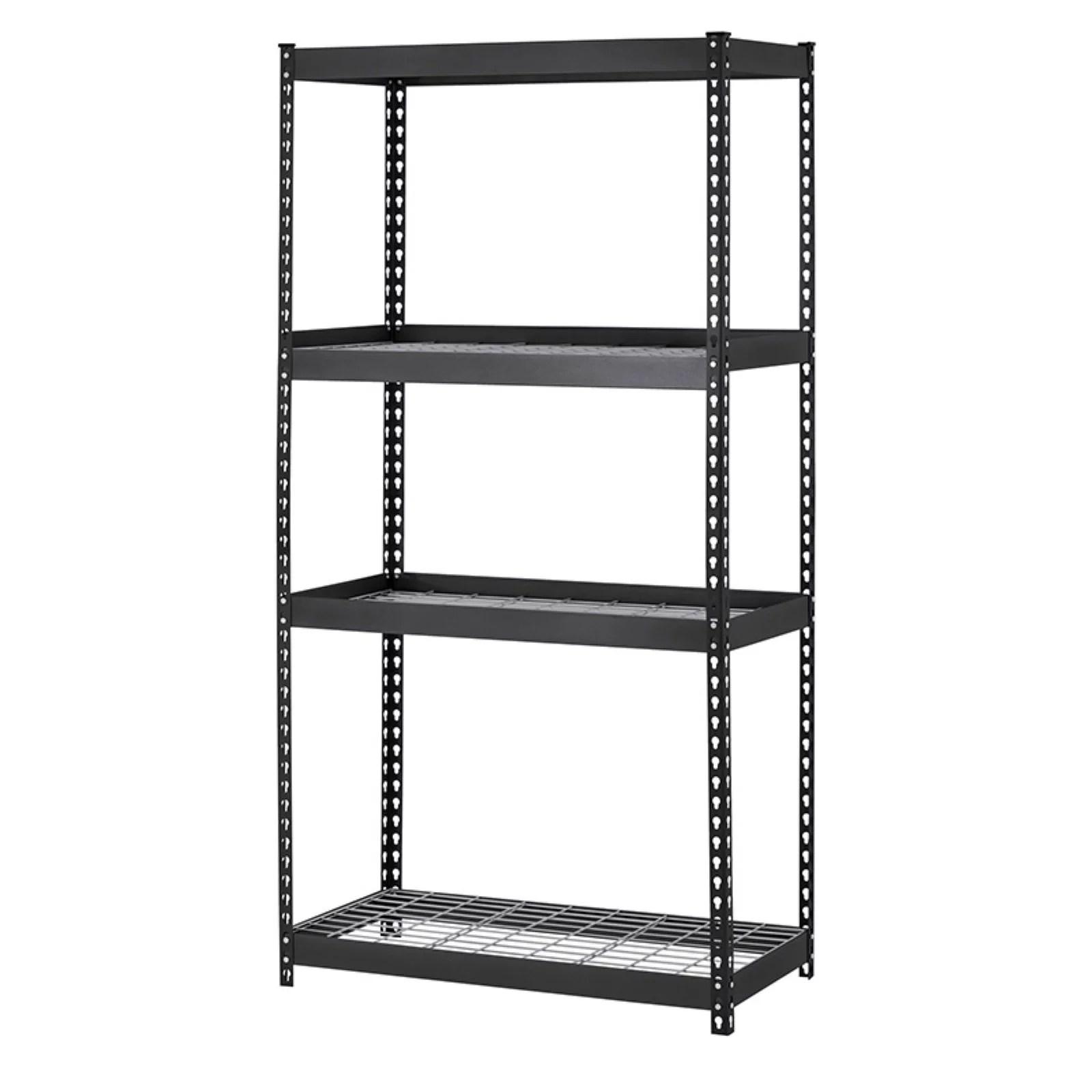 muscle rack 36 w x 18 d x 60 h 4 shelf heavy duty steel shelving unit 3200 lb capacity black