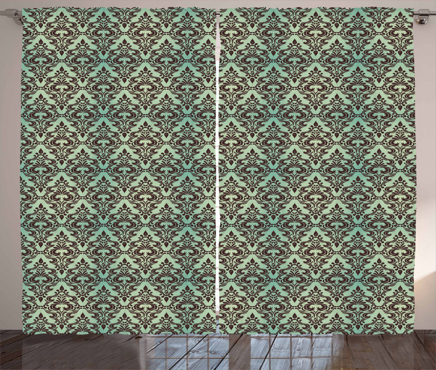 mint and brown curtains 2 panels set baroque flower motifs in damask style traditional revival art window drapes for living room bedroom 108w x 84l