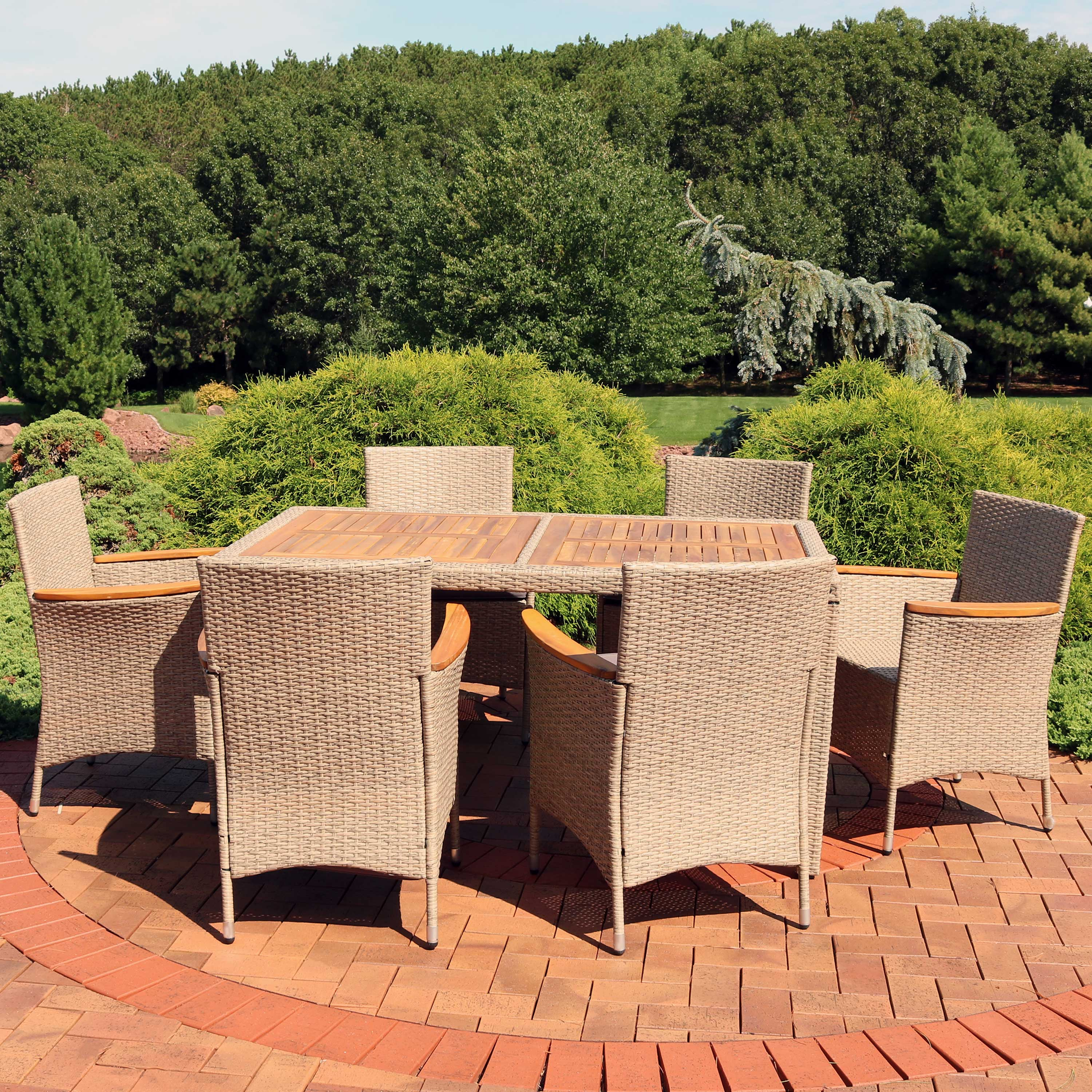 sunnydaze foxford outdoor dining set 7 piece rattan and acacia outside patio furniture 1 table and 6 chairs with 6 thick seat cushions backyard