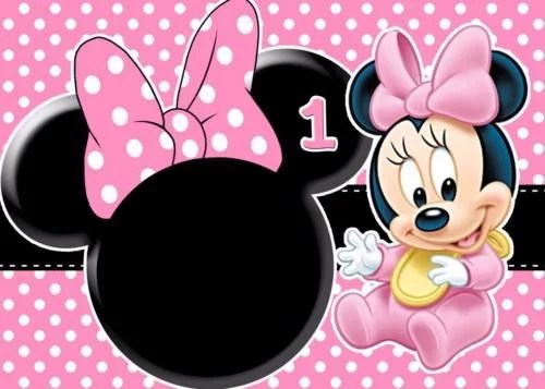 Baby Minnie Mouse First Birthday 1 2 Size Frosting Sheet Cake Topper Edible Image Walmart Com Walmart Com